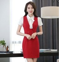 New Fashion Slim Spring Summer Womens Dresses Formal OL Styles Business Women Work Wear Dress Ladies Tops Beauty Salon Red