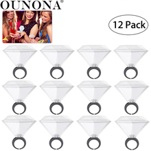 OUNONA 12 Pack Diamond Ring Shot Glass Whiskey Glass for Bachelor Party Wedding Engagement Party Wedding Bridal Shower