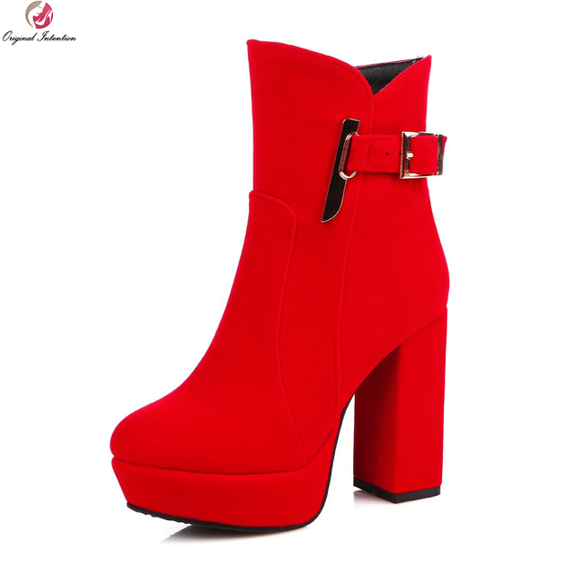 Women Ankle Boots High Square Heels Shoes With Zipper Size 4-16