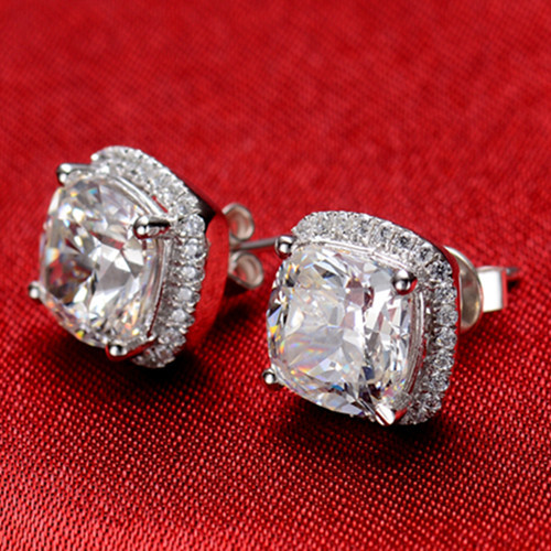 Earring Diamond Stud-Cushion Gold Jewelry-2ct/Piece Solid 18K Women Engagement for Fade