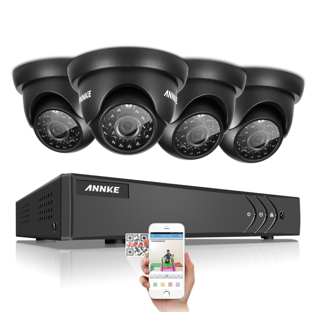 ANNKE 4ch 1080N DVR Kit 720P CCTV Security System 4pcs Dome type 1500TVL 1.0MP home Surv ...