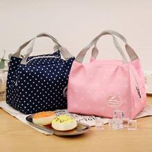 Striped Dot Insulated Lunch Bag Thermal Portable Cold keep Box Picnic Carry Case Food Container Storage