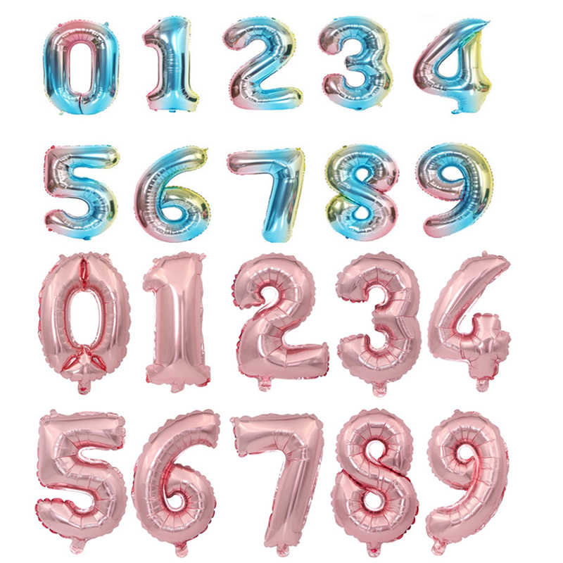16 32inch Number Foil Balloon Rose Gold Silver Blue Discolor Digital Globos Birthday Party Decoration Baby Shower Supplies Globo