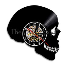 1Piece Halloween Wall Clock Skull Peace Vinyl Record Wall Clock Wall Art Home Deco Simple Hornor Art Gift For Skull Lover cheap geometric The Geeky Days Antique Style Wall Clocks living room GIT-0549 Single Face Needle abstract QUARTZ CREATIVE Separates