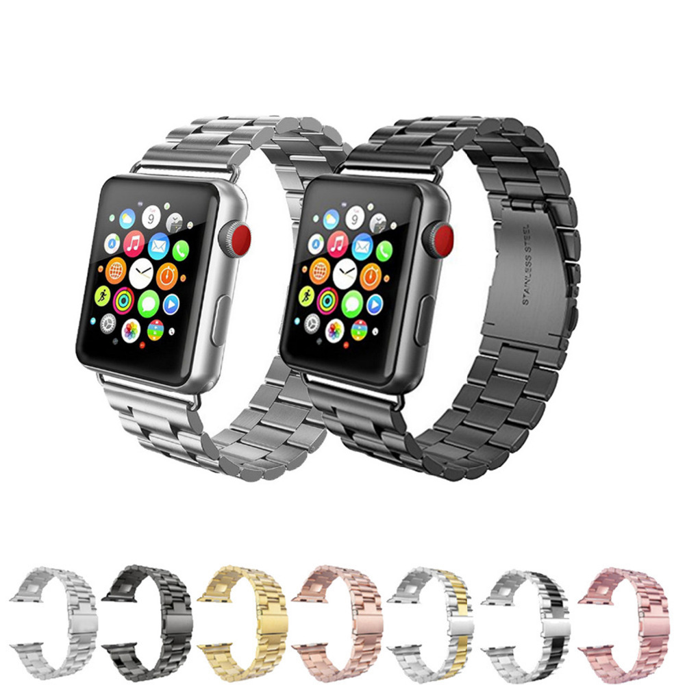 Metal Buckle For Apple Watch Bands 42mm 38mm Stainless Steel Black Link Bracelet Straps for Apple Watch iwatch 3/2/1 Watchbnds stylish 8 led blue light digit stainless steel bracelet wrist watch black 1 cr2016