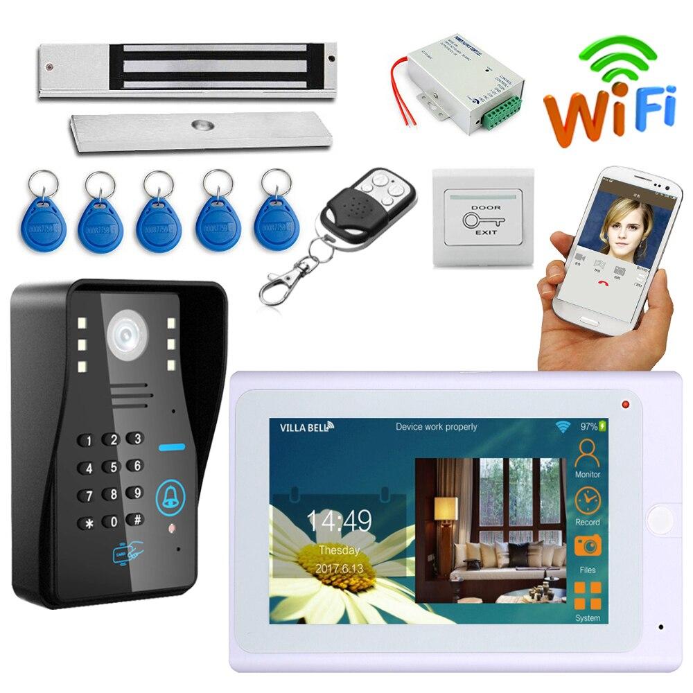 7 проводной/беспроводной Wifi видеодомофон система дверного звонка 180 кг Электрический магнитный замок + мощность + дверной выход + ID карта