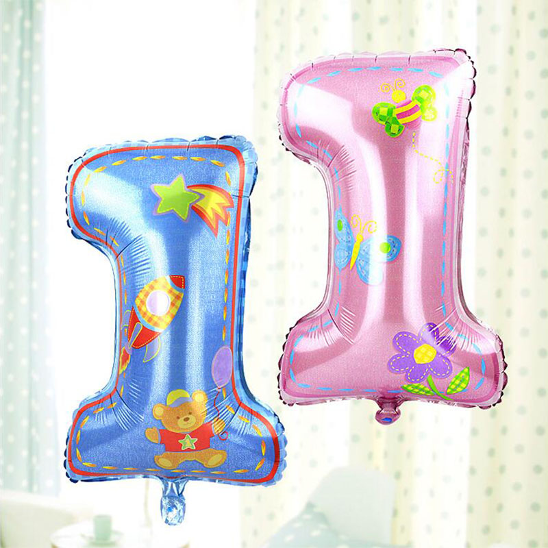2017 New big Number foil balloon Baby 1st birthday ballon Helium baloes for wedding decoration air globos baby shower supplies in Ballons Accessories from Home Garden