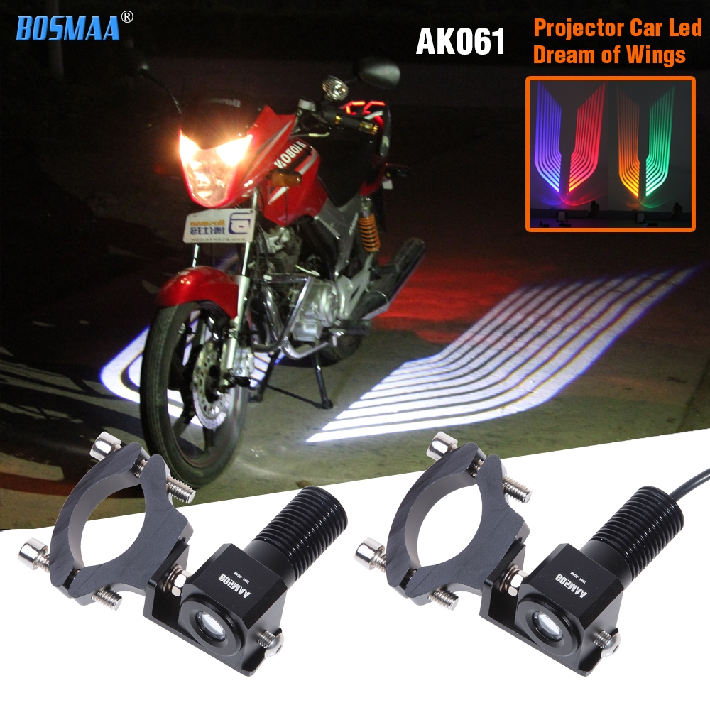 Bosmaa AK061 motorcycles led door projector shadow light fog warning light welcome emergency signal light wings lamp