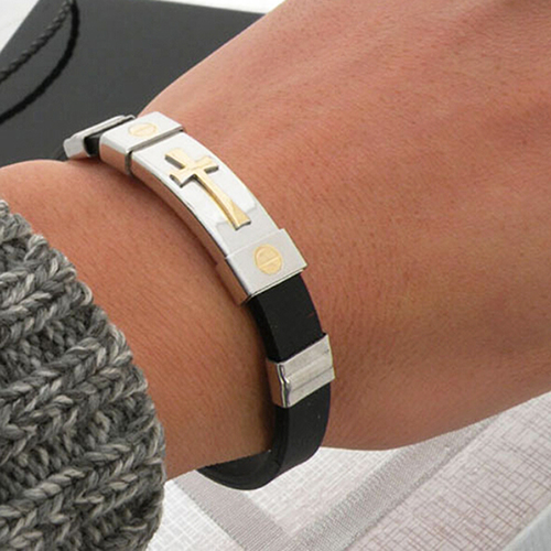 Hot Brand Unisex Womens Mens Cross Stainless Steel Silicone Buckle font b Bracelets b font Bangle