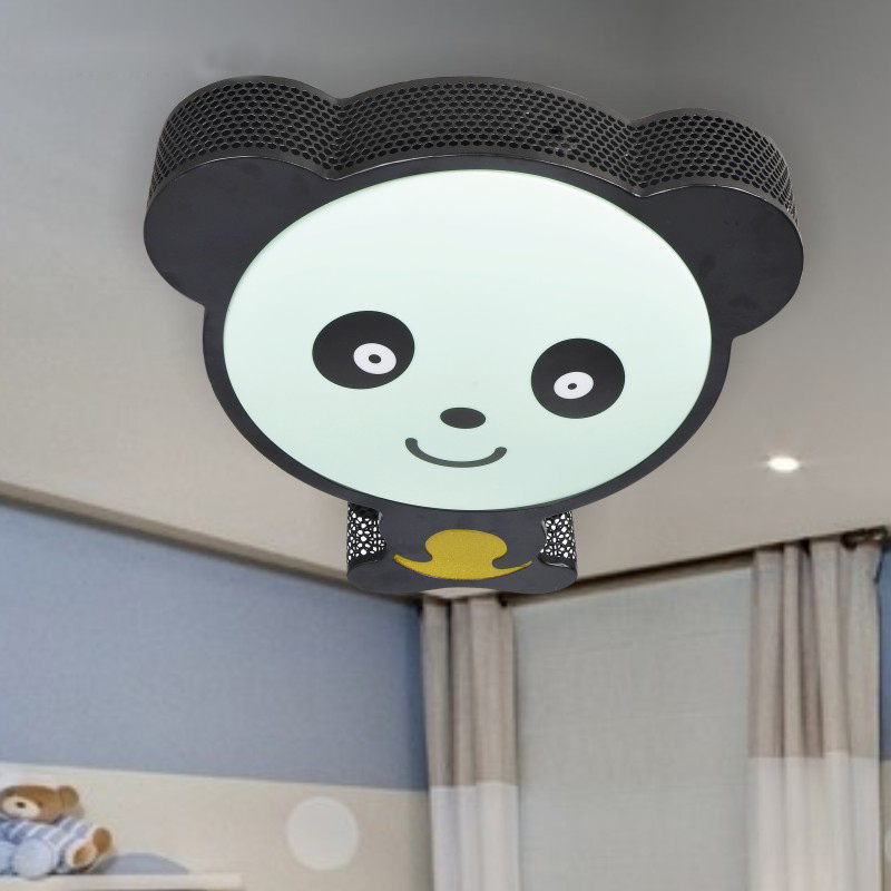 modern metal panda led kids bedroom ceiling lamp baby room lighting ceiling
