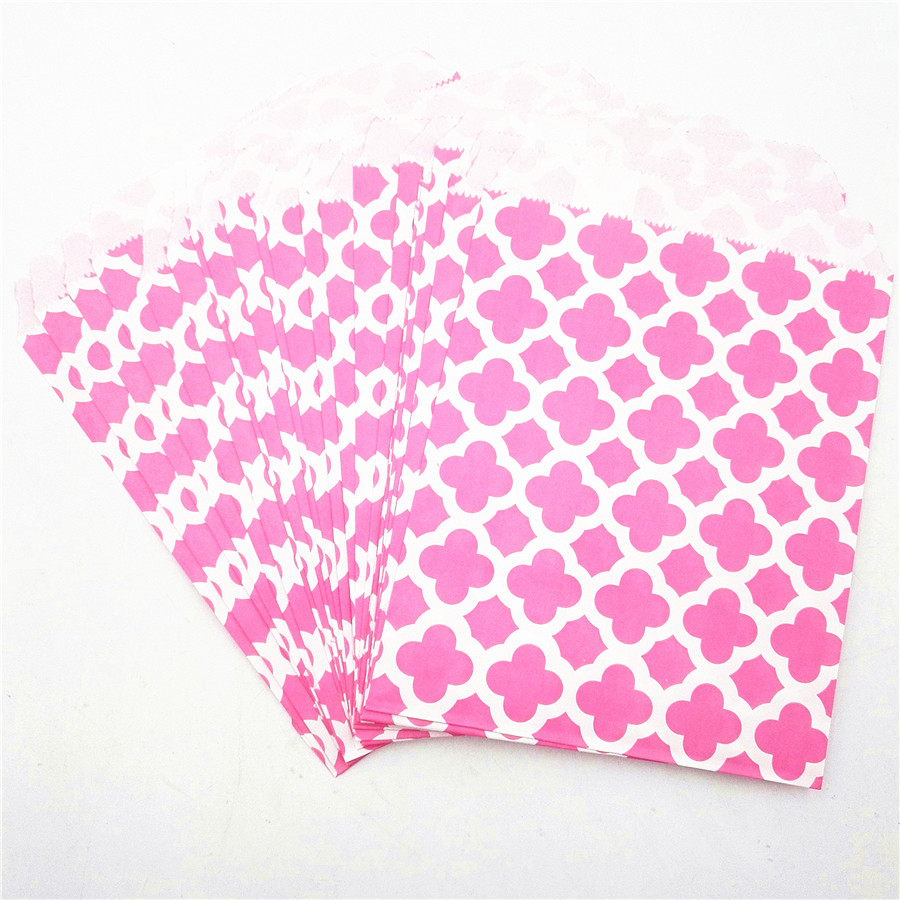 25pcs Pink Craft Paper Candy Bag 5 X 7 quot Polka Flower Buffet Popcorn Food Safe Fries Hamburger Fried Chicken Oil Paper Gift Bag in Gift Bags amp Wrapping Supplies from Home amp Garden