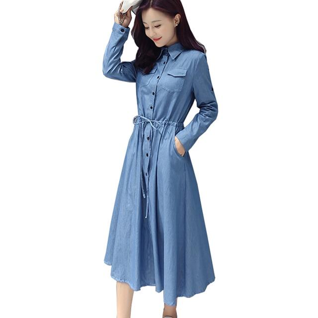 e2fb6ca984d Denim Dress New Trendy A-Line Shirt Jean Dress Midi Blue Womens Elegant XXl  cotton slim Cowboy Loose Jeans Dresses Autumn