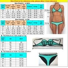 Women Bikini Push Up Neoprene Patchwork Waterproof Swimwear