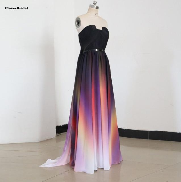 Designer fließende chiffon schwarz weiß lila korallen farben kleid ...