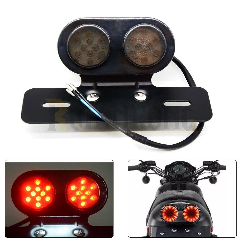 New 12V Motorcycle Tail Light LED Integrated Brake Smoke Turn Signal Red Amber Motorbike License Plate Lamp Indicators