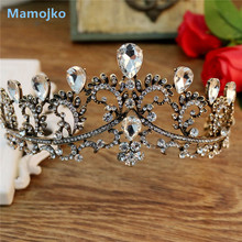 Mamojko Vintage Crystal Gold Tiara Headband Baroque Crown Rhinestone Tiaras Wedding Hair Jewelry Bridal Dress Accessories