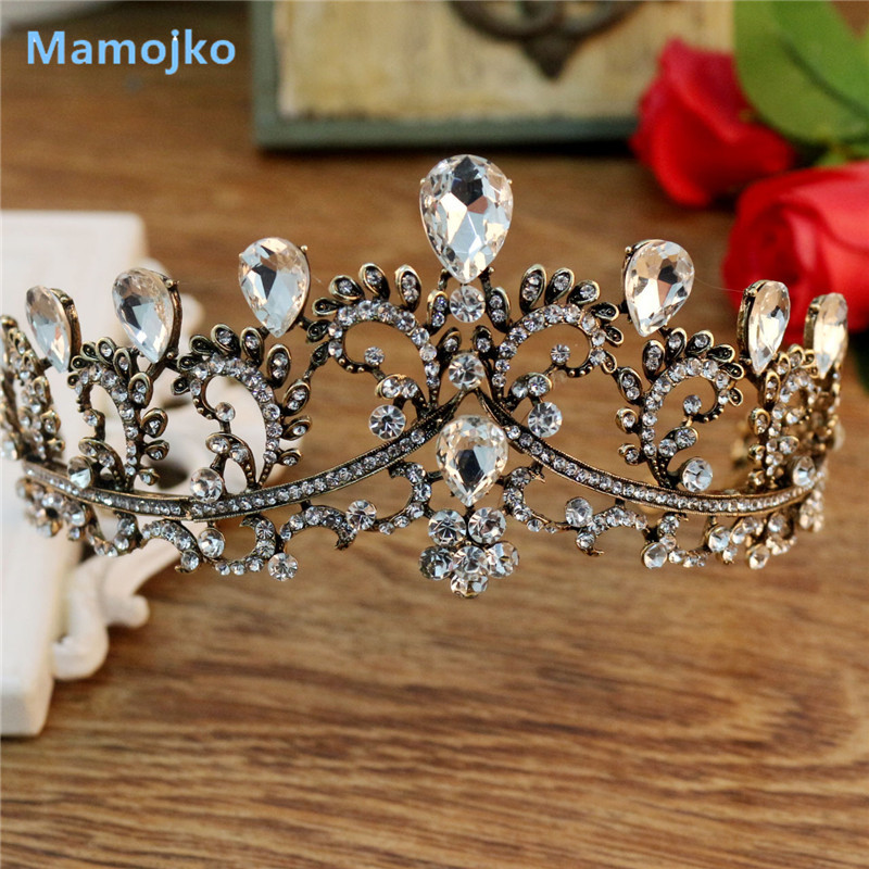 Mamojko Vintage Crystal Gold font b Tiara b font Headband Baroque Crown Rhinestone font b Tiaras
