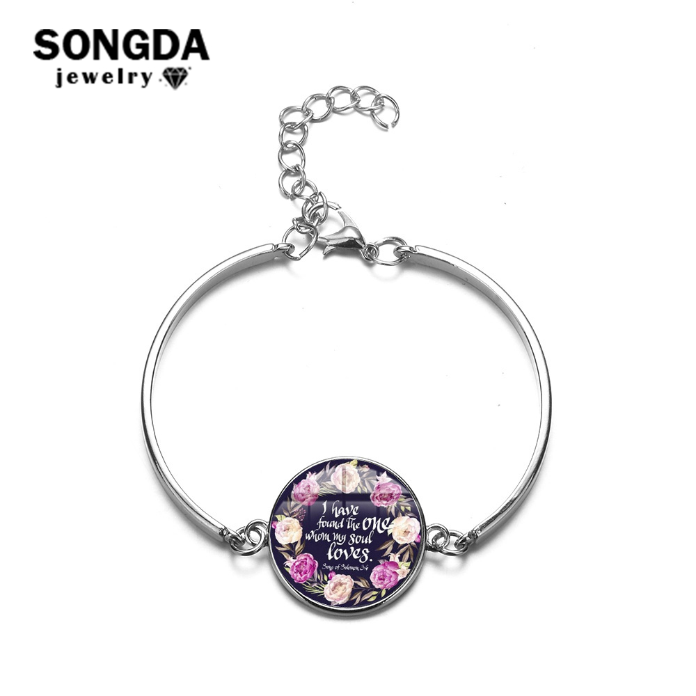 SONGDA Romantic Psalm Charm Bracelet I Have Found The One Whom My Soul Loves, Song of Solomon 3:4 Bible Verse Jewelry Women Gift image