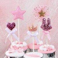 5 Pcslot Pink Star Heart Crown Birthday Cake Topper Cupcake