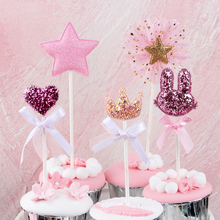 5 pcs/lot pink star heart crown birthday cake topper cupcake decoration baby shower kids birthday party wedding favor supplies