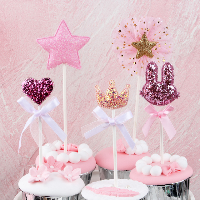 5 stks/partij roze ster hart kroon verjaardag cake topper cupcake decoratie baby shower kids verjaardagsfeestje bruiloft gunst benodigdheden