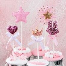 Lote de 5 unidades de corona de corazón para tarta de cumpleaños, decoración de magdalenas, fiesta de cumpleaños para niños, suministros de recuerdo de boda