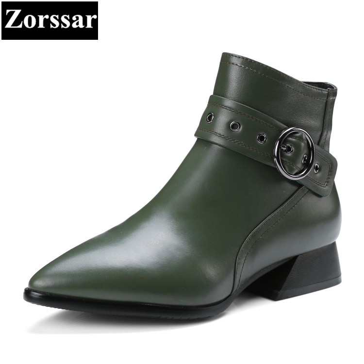 {Zorssar} 2018 NEW Fashion buckle Women Boots Low heel pointed toe ankle Martin boots large size womens shoes winter boots hot women winter snow ladies low heel ankle belt buckle martin boots shoes kh 39 17mar09