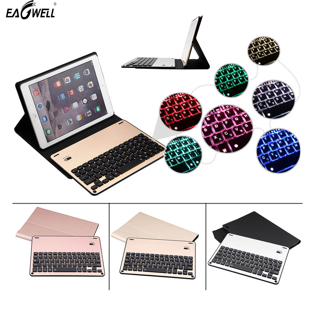 Removable Aluminum Bluetooth Keyboard + PU Leather Case For Apple iPad Pro 10.5 Adjustable Backlight Seven Color Tab keyboard for apple ipad 5 air removable pu leather case stand cover wireless bluetooth keyboard usb cable for ipad 6 air2 pro 9 7