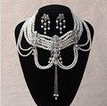 Estilo europeu nupcial/mulheres multilayer colar de pérolas do vintage flores de cristal brincos de conjunto de jóias de casamento acessórios