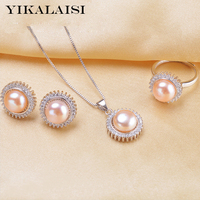 YIKALAISI 2017 Natural Pearl Set Jewelry Set Pearl Pendant Ring Earrings For Women 925 Sterling Silver