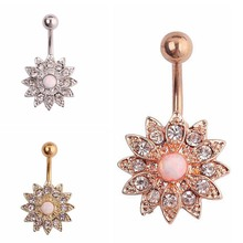 Rhinestone Flowers Piercing Belly Button Ring Barbell Piercing Ring Body Jewelry Summer Style Women Body Chains Plug