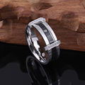 Titanium Steel Ring Wedding Mens Cubic Zirconia Stainless Steel Ring, Charm Elegant Wedding Band, Black&Silver and Gold & Silver