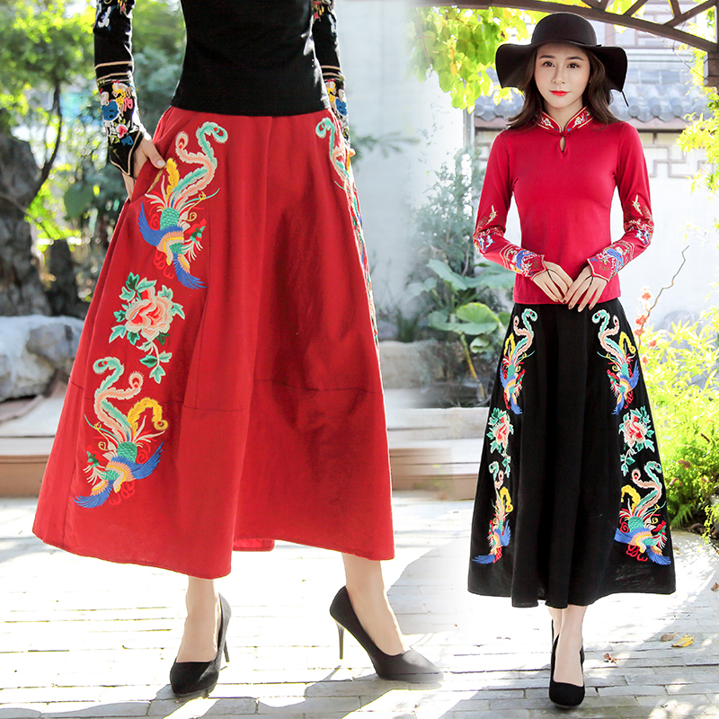 KYQIAO Traditional Chinese skirt 2019 women autumn winter original design long black red floral embroidery midi skirt longuette