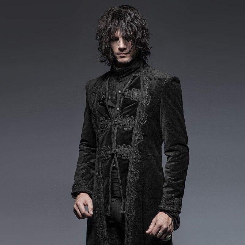 Steampunk Hommes de Palace Party Vintage Classique manteaux pour homme Rétro Fleur Motif Longue Veste