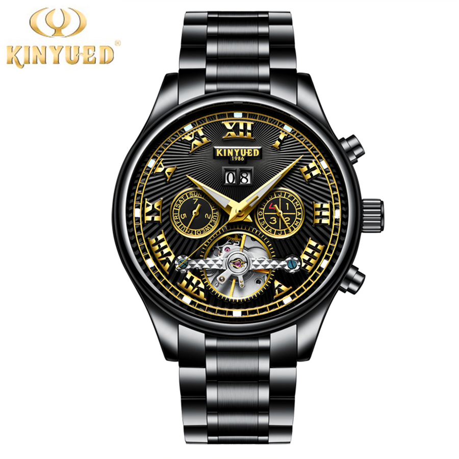 KINYUED Tourbillon Watches Mens Automatic Watch Men Luxury Brand Famous Stainless Steel Mechanical Watch Relogio Masculino 2017 forsining automatic tourbillon men watch roman numerals with diamonds mechanical watches relogio automatico masculino mens clock