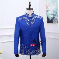 Blauw en wit Chinese blazer blazer masculino slim fit homens blazer Chinese jasje met borduurwerk
