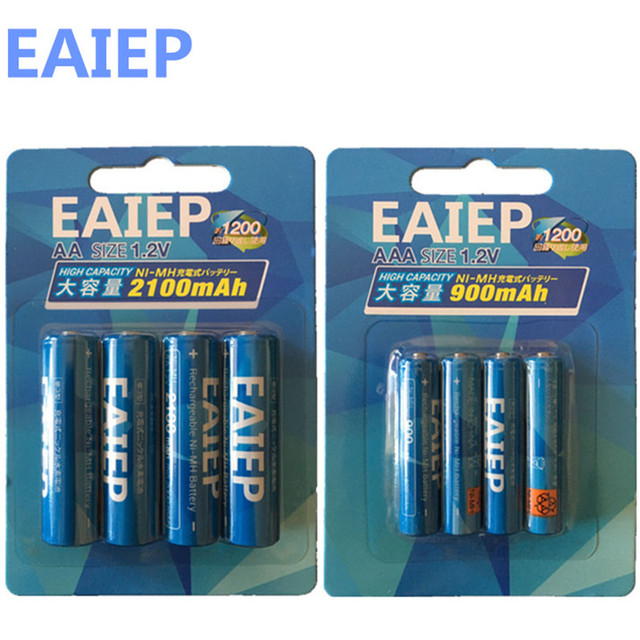 EAIEP 4Pc/1card 1.2V 2100mAh AA Batteries+4Pcs/1card (600mAh-900mAh) AAA Batteries NI-MH AA/AAA Rechargeable Battery