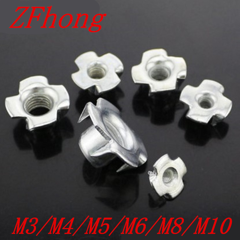20Pcs M3/M4/M5/M6/M8 steel with zinc four Pronged Tee Nuts Captive Blind Inserts For Wood Furniture m2 5 pem nuts standoffs blind rivet captive nuts self clinching blind fasteners