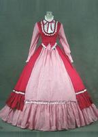2016 Ретро красный и розовый одежда с длинным рукавом Ренессанс викторианской платье в стиле «Лолита»