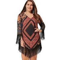 Langstar 2017 Nuevo otoño más tamaño 5xl tribal impreso gasa borla vestido mujeres moda Argyle geométrica imprimir V Masajeadores de cuello vestido