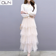 French niche chiffon dress female summer spring new temperament suit Victoria skirt + shirt w Korean