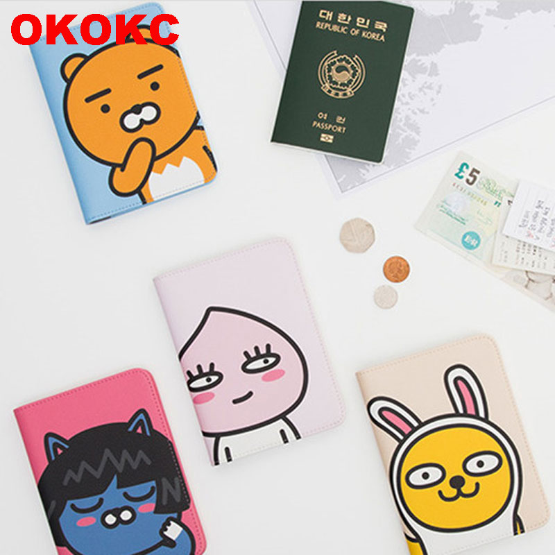 OKOKC Cartoon  High Quality PU Passport Cover Waterproof PU Leather Travel Passport Holder Travel Accessories