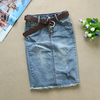New 2019 Summer Elegant Women High Waist Slim Denim Skirt Sexy Single Breasted Jeans Skirts Pencil Skirt With Belt F286