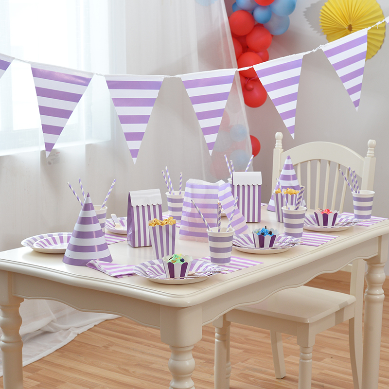 Purple Disposable Tableware Party Paper Plates Cups Baby