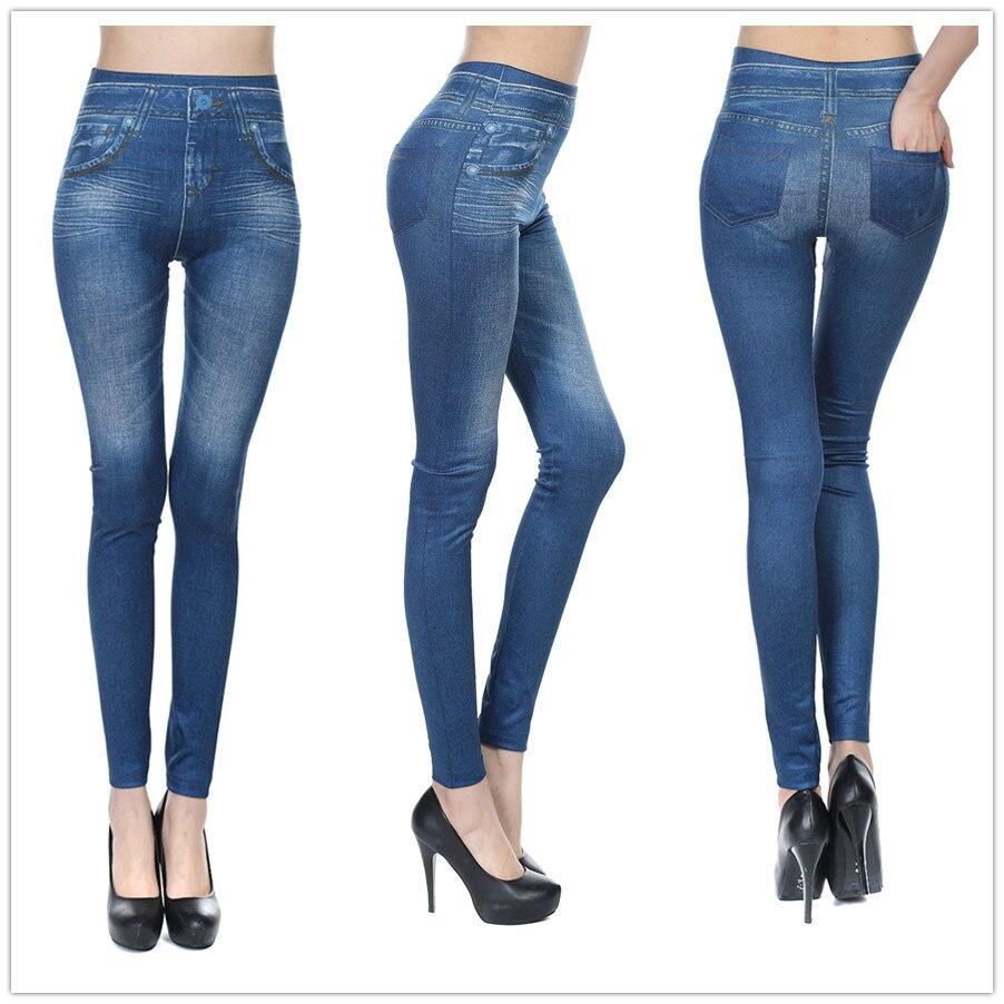 Las mujeres delgadas Faux Vaqueros Leggings sólido sexy lápiz Jegging  poliéster Pantalones negro azul denim Womens leggins d072 c16bde8b8097