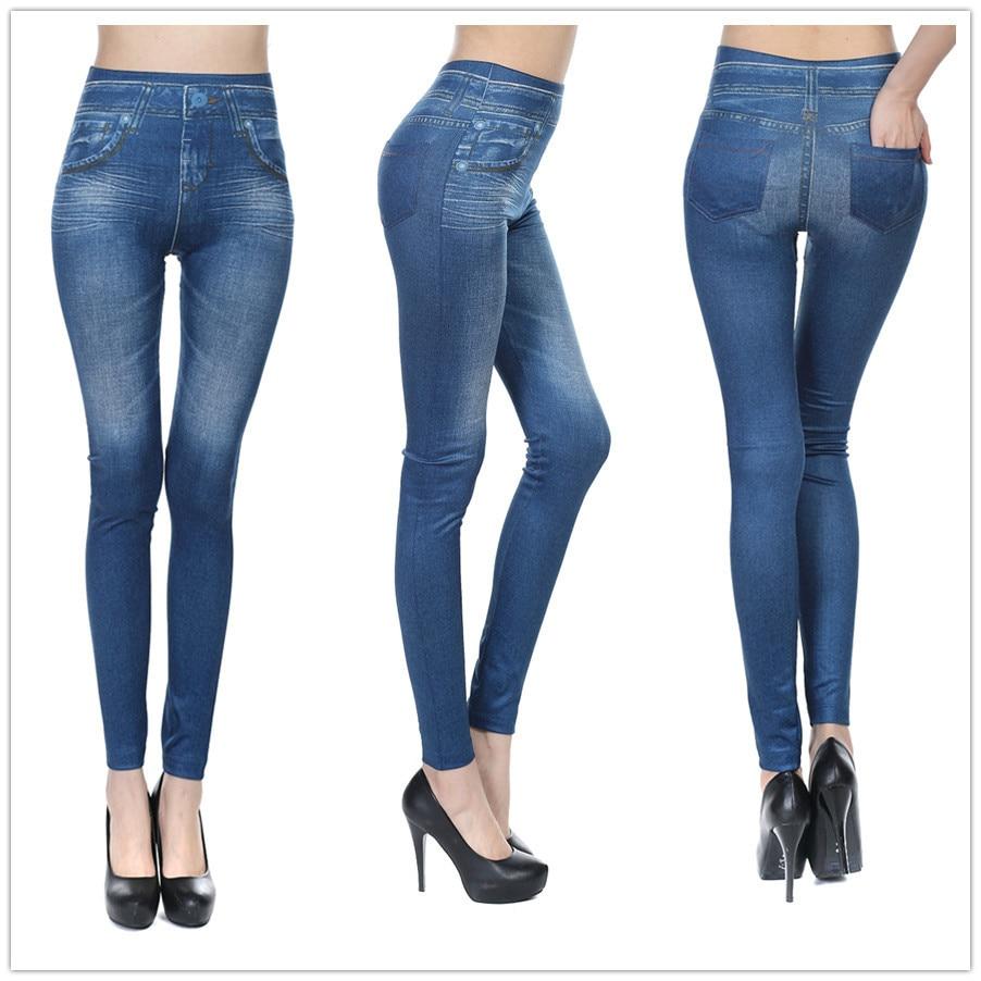 baf3a81421d6b Slim Women Faux Jeans Leggings Solid Sexy Seamless Pencil Jegging Polyester  Pants Black Blue Denim Womens Leggins D072-in Leggings from Women's  Clothing ...