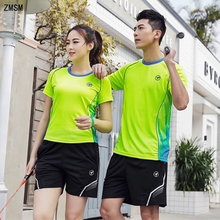 ZMSM Women/Men Quick Dry Badminton Set O-neck Table Tennis Clothes Training Suit Shirts Shorts & Skirts Sportswear Y118