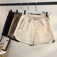 2019 mink Winter Solid Velvet Women Shorts New Waist Circle Short Feminino Slim Wide Leg Shorts Female Short Pants
