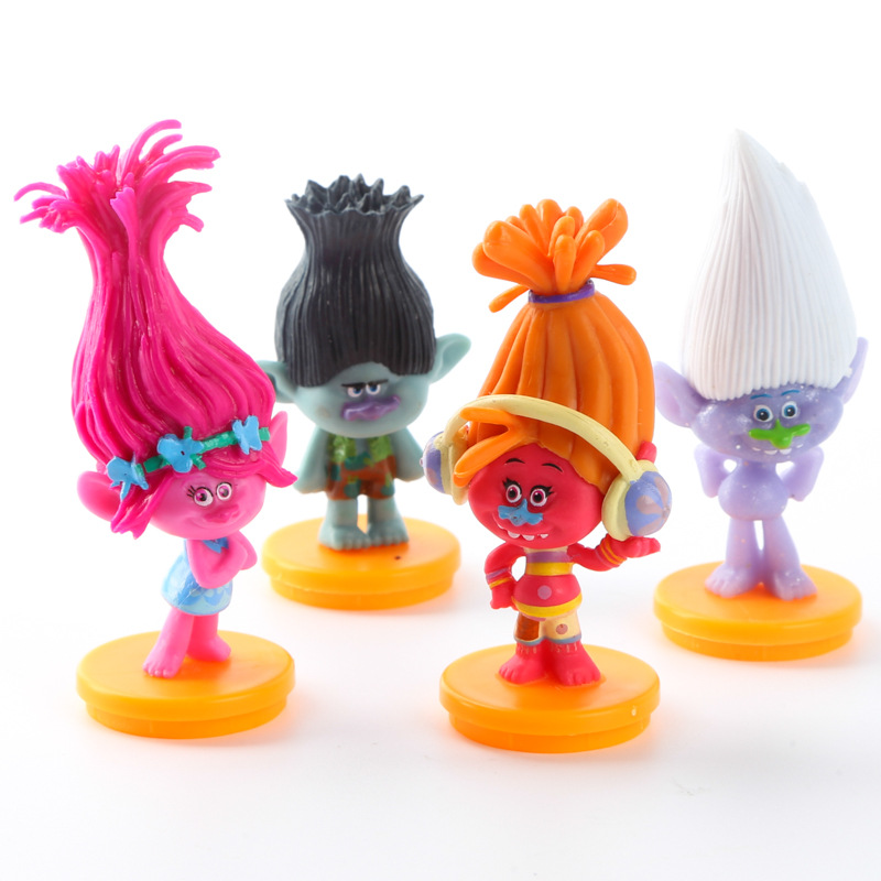 4 Pcs/set Movie Trolls action figure toys 7cm Poppy Branch model dolls kids toys gift