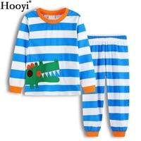 Hooyi 2018 Crocodile Baby Boy Pajamas Long Clothes Suits Blue Stripe Spring Children PJ'S Sleep Suit Cotton Pijamas T-Shirt Pant